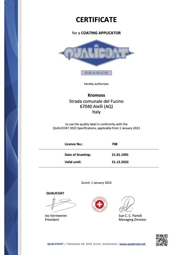 Certificato Qualicoat Seaside
