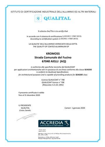 Certificato Qualicoat