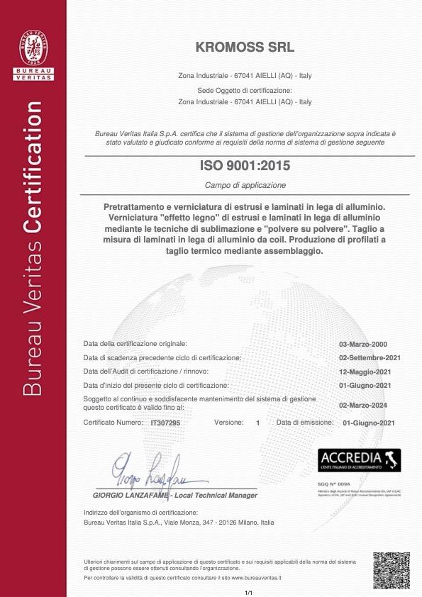 Certificato Bureau Veritas ISO 9001
